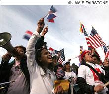HERE TO STAY: The scene on Boston Common last Saturday.